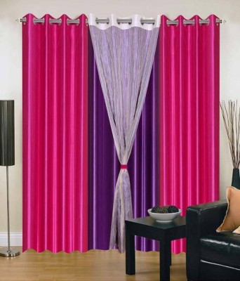Jai Ganga Polyester Pink and purple Plain Curtain Door Curtain