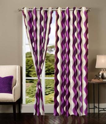Sanaya Polycotton Purple Printed Eyelet Door Curtain