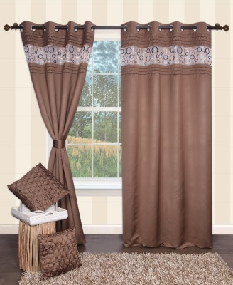 Furniche Polyester Brown Printed Eyelet Window Curtain