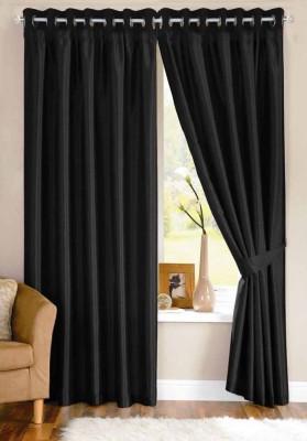 shivamconcepts Polyester Black Plain Eyelet Door Curtain