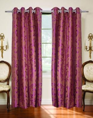 TT Purple Printed Eyelet Door Curtain