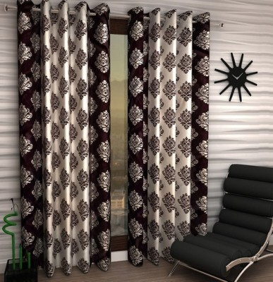 Home Fantasy Polyester Brown Abstract Eyelet Window Curtain