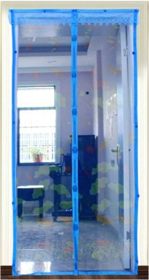 Muren Polyester Blue Printed Tab Top Door Curtain