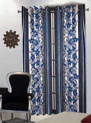 Home Blossoms Polyester Blue Floral Eyelet Door Curtain