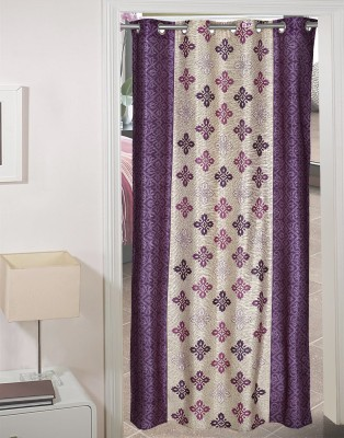 R.M TRADING Polyester Alluring Beige, Fantastic Purple Printed Eyelet Door Curtain