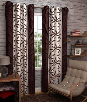 Shiv Fabs Polyester Brown Floral Ring Rod Door Curtain