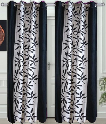 JF Polycotton Black Printed Eyelet Window & Door Curtain