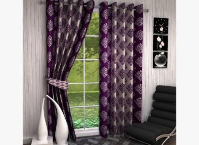 Kanha Polyester Purple Damask Eyelet Long Door Curtain