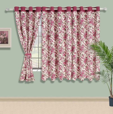 Swayam Cotton Pink Floral Eyelet Window Curtain