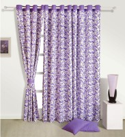 Swayam Cotton Purple, White Solid Eyelet Window Curtain(152.4 cm in Height, Single Curtain)