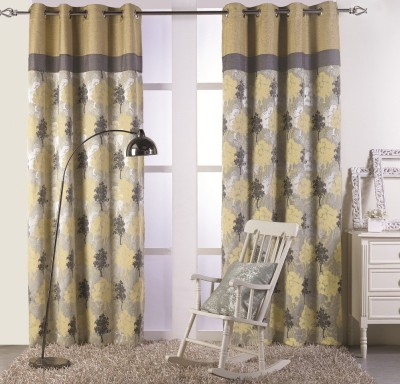 KC HOME Polycotton Green Floral Curtain Window Curtain