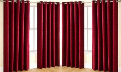 Galaxy Decorations Polyester Maroon Plain Eyelet Door Curtain