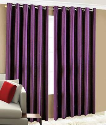 BTI Polyester Purple Plain Eyelet Door Curtain