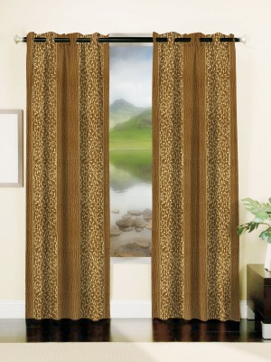 Mahamantra Polyester Gold Floral Eyelet Window Curtain