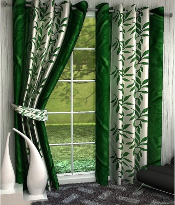 Panipat Textile Hub Polyester Green Floral Eyelet Long Door Curtain