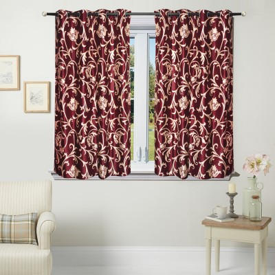 Fantasy Home Decor Polyester Maroon Floral Eyelet Window Curtain
