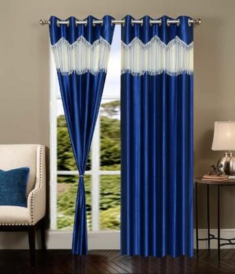 Deco Home Polyester Navy Blue Plain Eyelet Door Curtain