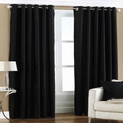 Qualityfab Polyester Black Plain Eyelet Door Curtain