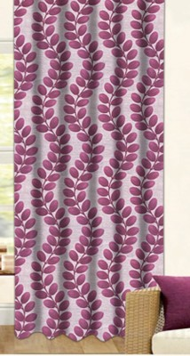 Drapez Polyester Pink & Maroon Floral Eyelet Window Curtain