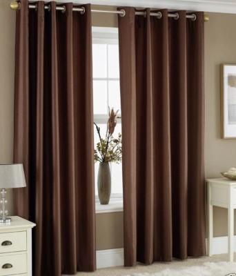 HOMEDECORHD Polyester Brown Plain Curtain Door Curtain
