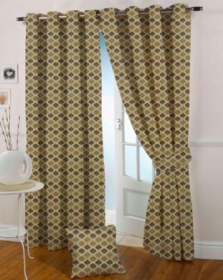 Presto Polyester Gold Striped Eyelet Window Curtain