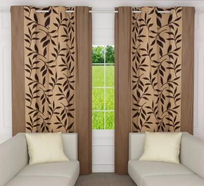 Home Candy Polyester Beige Floral Ring Rod Door Curtain