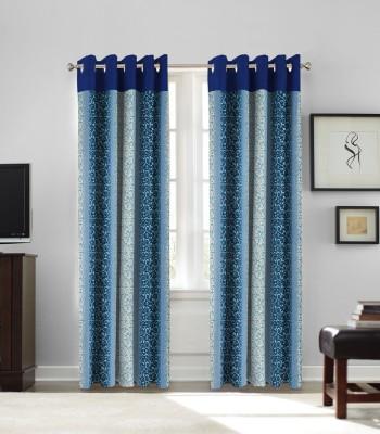 fflaunt Polyester Blue Printed Eyelet Door Curtain