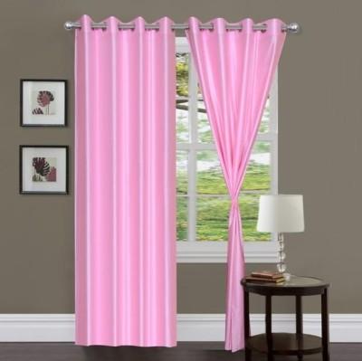 Sai Arpan Polyester Pink Solid Eyelet Door Curtain