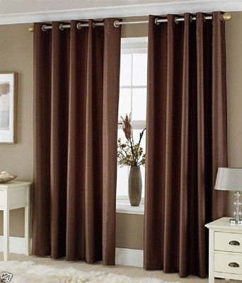 ALAGH FASHIONS Polyester Brown Plain Eyelet Door Curtain