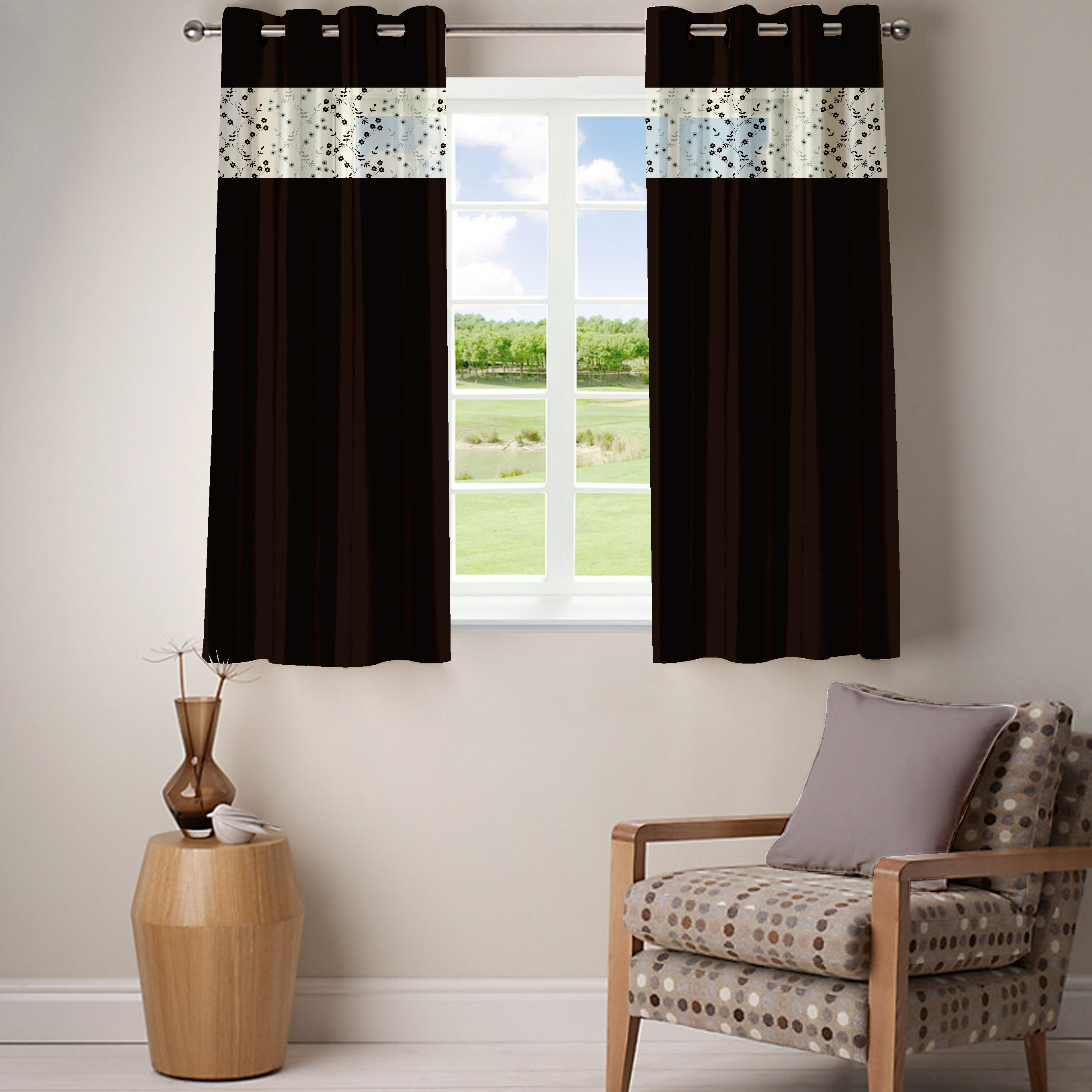 Kings Polycotton Brown Solid Eyelet Window Curtain class=