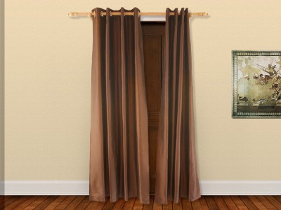 Veer Creations Polyester Brown Plain Eyelet Door Curtain