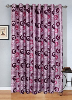 Jds Polyester Pink, Purple Geometric Ring Rod Door Curtain