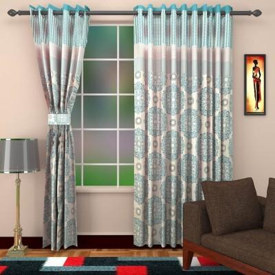 DBR Polyester Multicolor Floral Eyelet Door Curtain