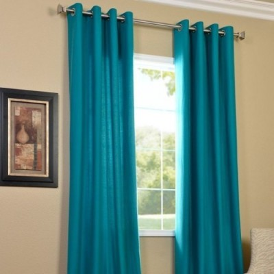 Home And Craft Polyester Light Blue Floral Eyelet Door Curtain