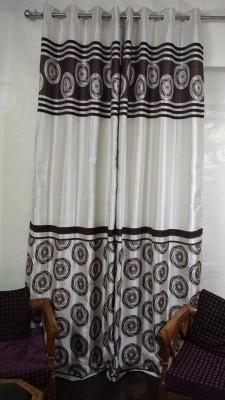 FC Polycotton Brown Geometric Eyelet Door Curtain