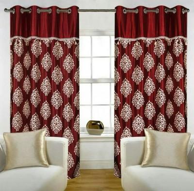 Z Decor Polyester Brown Printed Eyelet Door Curtain