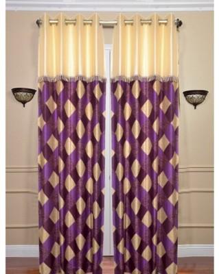 Swastik Polycotton Purple Checkered Eyelet Long Door Curtain