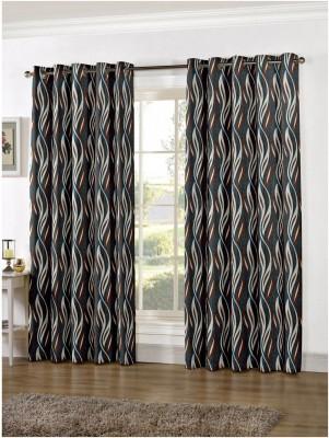 Zephyrtex Polyester Blue Geometric Eyelet Door Curtain