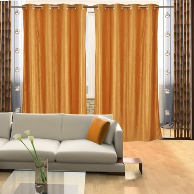 Home Candy Polyester Gold Floral Eyelet Door Curtain