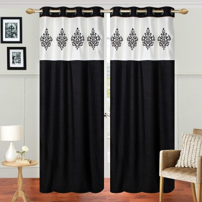 Abhi Decor Polyester Black Embroidered Curtain Window Curtain