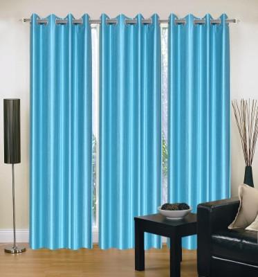 HandloomVilla Polyester Blue Solid Eyelet Door Curtain