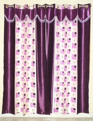 GLOW Polyester Purple Abstract Eyelet Window Curtain