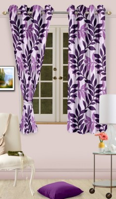 Cortina Polyester Purple Abstract Eyelet Window Curtain