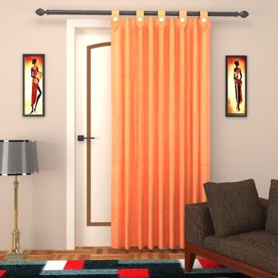 ELEGANCE HANDLOOMS EW3 Polycotton Orange Plain Concealed Tab Top Door Curtain