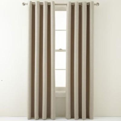 Homewards Satin Beige Solid Eyelet Door Curtain