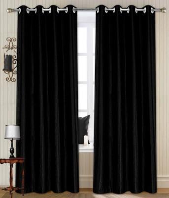 Thiwas Polyester Black Plain Eyelet Door Curtain