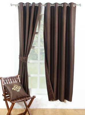 Avocett Polycotton Brown Plain Eyelet Door Curtain