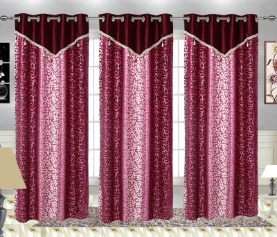 Comfort Zone Polyester Maroon Leaf Abstract Eyelet Long Door Curtain