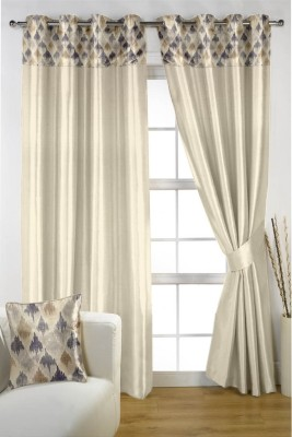 Homec Satin Maroon Printed Eyelet Window & Door Curtain