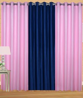 Shiv Shankar Handloom Polyester Light Pink, Navy Blue Crush Solid Eyelet Door Curtain
